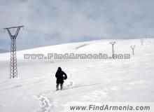 Running away from death. In the winter on Aragats mt.